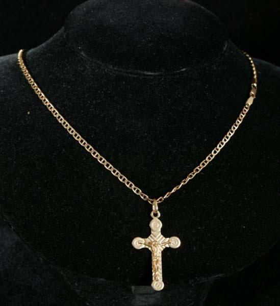 Cadena y crucifijo de oro - empeños Estepona