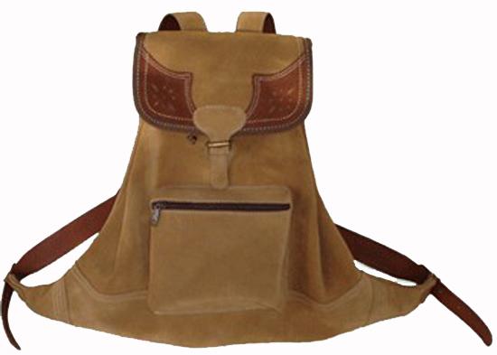 Mochila de cuero con bolsillo. Artesanía en cuero