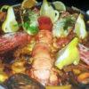Paella de marisco con bagabante echa al horno