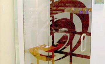 Puertas Securit decorada. Cristalería, Estepona